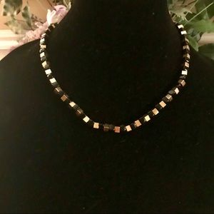 Chico's Square, black, gold beaded necklace